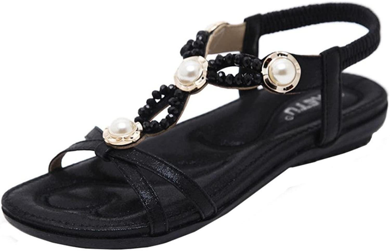 Fheaven Women Flat shoes Bohemia Rhinestone Beads Straps Sandals Outdoor shoes Sliver