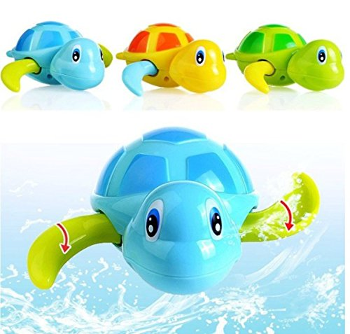 URTop 3Pcs Baby Bath Toys Best Gift Cute Turtle Animal Wind Up Chain Bath Water Toy Float Pool Swimming Tub Bathtub Playing Toy for Boys Girls