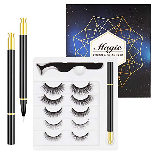 Evepoly 5 Pairs Reusable Magnetic Eyelashes and Magnetic Eyeliner Kit, Upgraded 3D Magnetic Eyelashes Kit With Tweezers Inside, Magnetic Eyeliner and Magnetic Eyelash Kit