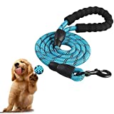 EvejoyShop Correa para perros y animales de 1,5 m con mango acolchado y hilos altamente reflectantes para perros pequeños, medianos y grandes, color azul