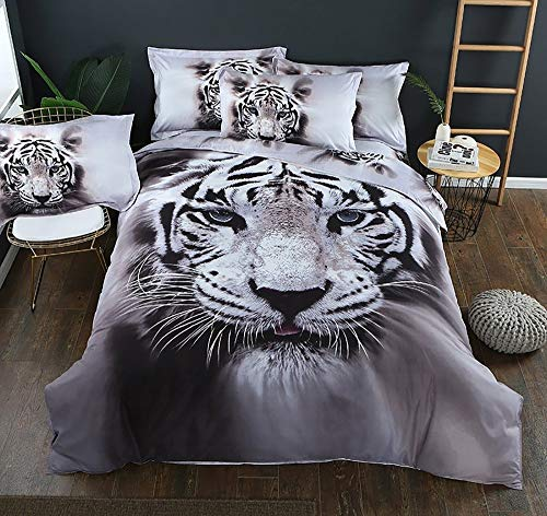 Baohu-bedding 3pcs Double/King 3D Bettbezug mit Kissenbezug White Tiger Pattern Animal Bettwäsche-Set Bettbezüge Bettwäsche-Sets (Color : White Tiger, Size : UK King 3pcs)