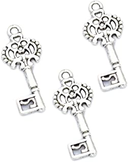 100pcs Vintage Antique Silver Alloy Key Charms Pendant Jewelry Findings for Jewelry Making Necklace Bracelet DIY 29x12mm (100pcs Key)