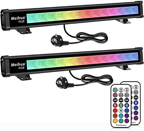 MEIHUA 42W RGB LED Wallwasher Partylicht 2 Pack LED Bar Lichteffekte mit Fernbedienung, für DJ Home Party Bühnenlichter