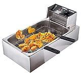 10 Freidora Extendida con Doble Frito, Freidora Eléctrica Comercial 2500W Para Cocinar Alimentos Papas Fritas En Casa, Restaurante