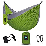 ERUW Camping Hamaca, Hamaca Ultraligera para Viaje y Camping Portátil Paracaídas Secado Rápido, Columpio de Nailon 210D para Patio & Jardín Hamaca (55''W108''L, Verdoso/Gris)