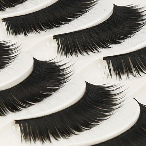 VovotradeSale! 5 Paires de mode Naturel à la Main Long Faux Cils Noirs Reuseable Maquillage Pro (Noir)