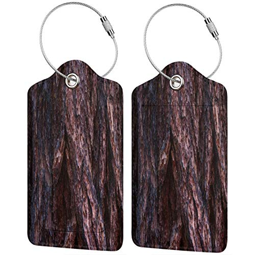 FULIYA Set of 2 Secure Luggage Tags High-end Leather Suitcase Luggage Tags Business Card Holder/Travel ID Bag Tag,Bark, Wood, Surface