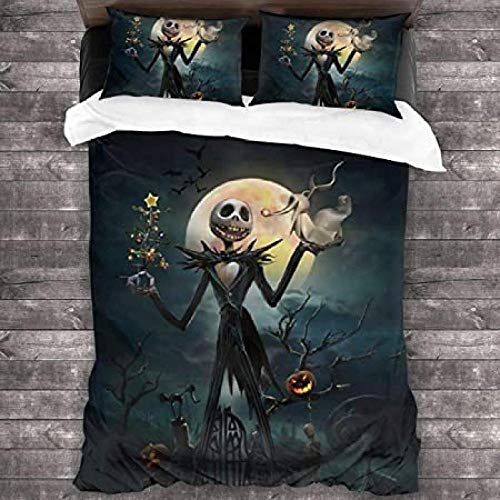 HUA JIE Bedding Set Double Bed Grey,Halloween Nightmare Before Christmas Bedding Set Duvet Cover Set With Zipper Closure And Standard Pillow Shams For Kids Teens
