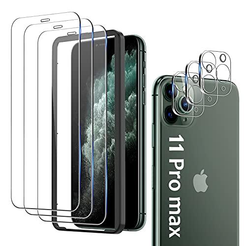 mixigoo 6 Stück Panzerglas für iPhone 11 Pro Max Schutzfolie, 3 Kamera Panzerglas und 3 Displayschutzfolie [mit Rahmen-Installationshilfe], Anti-Kratzen, HD Klar 9H Härte Folie für iPhone 11 Pro Max