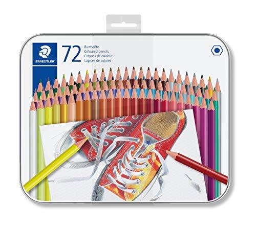 STAEDTLER 175 M72, Matite colorate esagonali in scatola di metallo, Colori Assortiti, 72 Pezzi