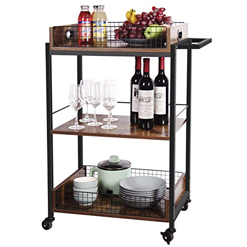X-cosrack Bar Cart-Kitchen Bar Serving Carts-3 Tier Wood Home Islands Carts-Utility Storage Cart with Wheels and Handle-for Home Office Restaurant Hotel