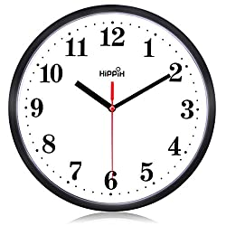Graceful Traditional Black Wall Clock Silent Non Ticking Quality Quartz by Hippih clock (Red - 4)