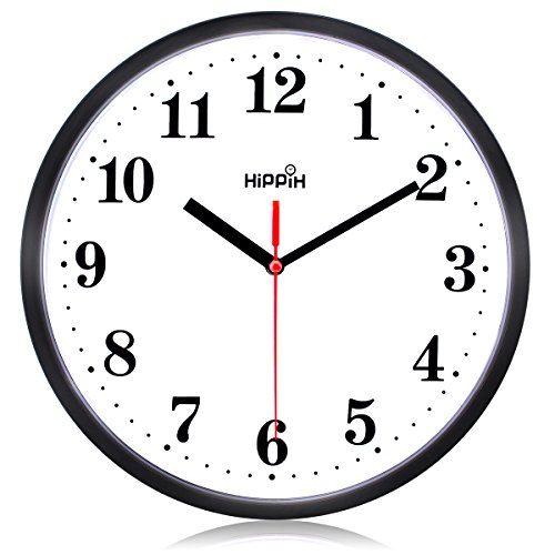 Black Wall Clock Silent Non Ticking Quality Quartz by Hippih clock (Red - 4)