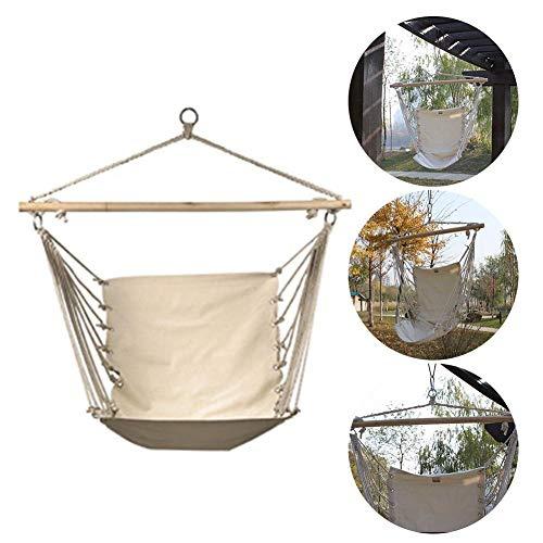 Schommelstoel met Hangend Touw, 47,2 X 33,5-inch Witte Canvas Schommel Comfortabele Duurzame Hangmat voor Volwassenen Kinderen Buiten