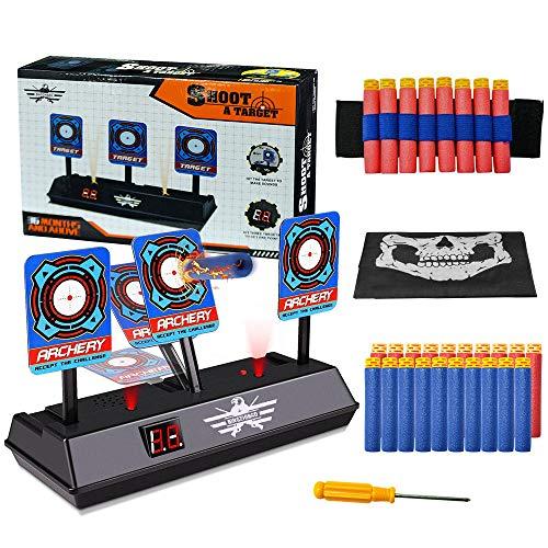 OFUN Zielscheibe für Nerf, Auto Reset Elektro-Schießscheiben, Zubehör Sets für Nerf Elite mit Soundeffekte und Spiellicht