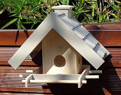 Vogelhaus BTV-VOWA3-grau002 Robustes, stabiles Vogelhäuschen + 5 SITZSTANGEN, KOMPLETT mit Futtersilo + SICHTGLAS für Vorrat PREMIUM Vogelhaus - ideal zur WANDBESTIGUNG - Futterhaus, Futterhäuschen, FUTTERHAUS für Vögel, WINTERFEST - MIT FUTTERSCHACHT Futtervorrat, Vogelfutter-Station Farbe grau hellgrau lichtgrau taupe / natur NEU, Ausführung Naturholz MIT TIEFEM WETTERSCHUTZ-DACH für trockenes Futter, Schreinerarbeit aus Vollholz