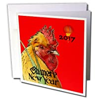 フローレンChinese New Year Designs – イメージの2017 Chinese New Year With Large Rooster and Lantern – グリーティングカード Set of 12 Greeting Cards