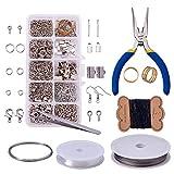 LEAMALLS 10 Trous Bijoux Fabrication Kit Faisant Perles Perlage Réparation Outils Collier...