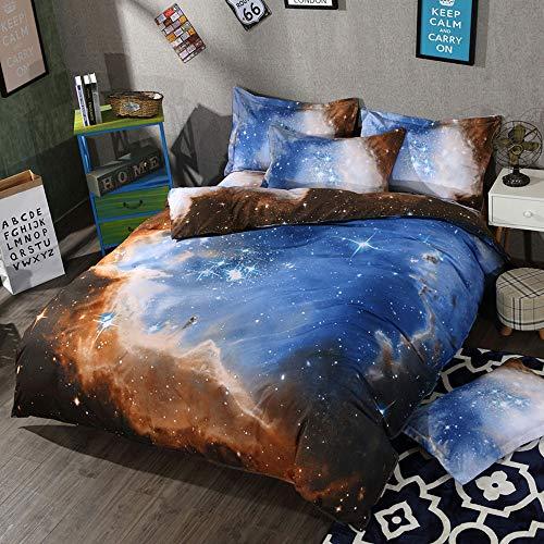 LCTCCT Copripiumino in Microfibra Set Copripiumino 3D Galaxy Starry Universo Effetto Trapuntato Fantasia Set di Lenzuola con Federa (Colore : F, Dimensioni : 1.5m Bed Four-Piece)