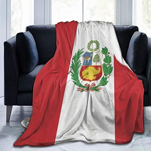 QIUTIANXIU Mantas para Sofás de Franela 150x200cm Silinana Bandera de Perú Patrón Impresión Digital Manta para Cama Extra Suave
