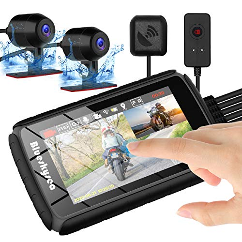 Blueskysea Motorrad Dash Cam Kamera DV988 Pro 1080p 30fps Doppelobjektiv 140° Weitwinkel 1080P Motorrad Camcorder Aufnahme DVR mit 4'' IPS HDR Touchscreen wasserdichte IP66 Loop Aufnahme mit GPS