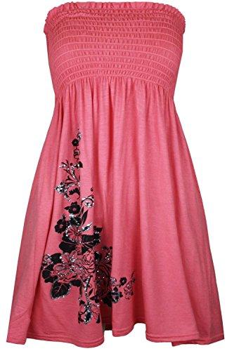 Momo&Ayat Fashions Dames Jersey Bloemen Glitter Sheering Mini Jurk Bandeau Boobtube Top UK Maat 8-26