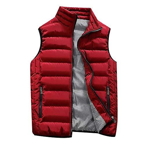 Abrigos de Hombre,Dragon868 Otoño Invierno Hombres Chicos Acolchado de algodón Chaleco Caliente con Capucha Chaleco Grueso Abrigo (Rojo,S)