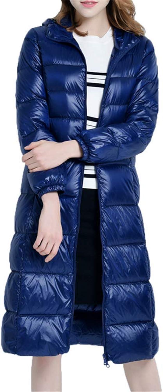 Loozo Winter Ladies Warm Long Slim Hooded Fashion Thick 90% Duck Down Jacket