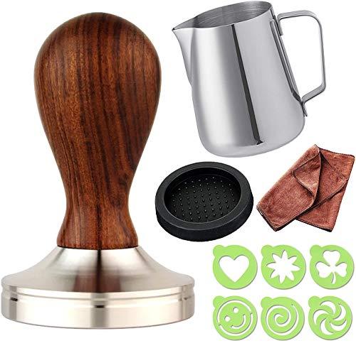 Practimondo 51mm Espresso Tamper Set inkl. Tampermatte und Milchkännchen - Der Deluxe Kaffeemehlpresser für Siebträger Kaffeemaschine - Premium Barista Edelstahl Kaffeedrücker Espresso-Stempel