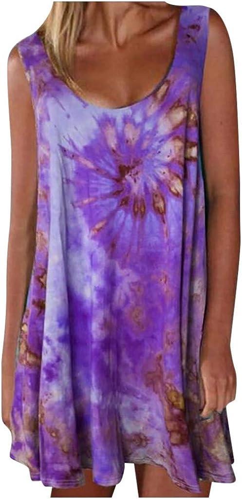 aihihe Womens Tie Dye Short Dress Crew Neck Casual Summer Sleeveless Loose Plus Size T Shirt Mini Dress Swing Sundress