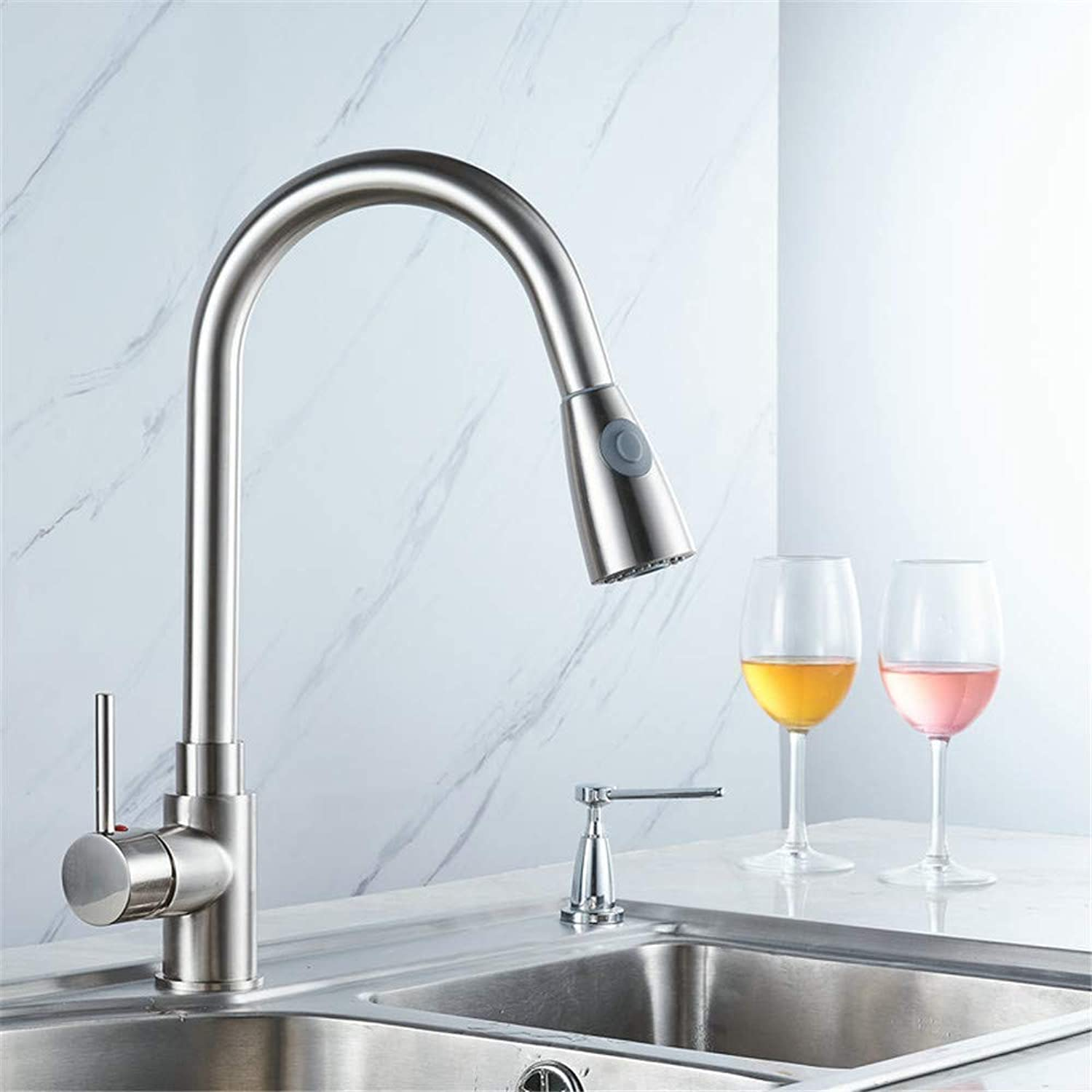 Oudan Hot and Cold Kitchen Pull Faucet Sink Spring Three-Way Large Curved Faucet Sink Faucet (color   -, Size   -)