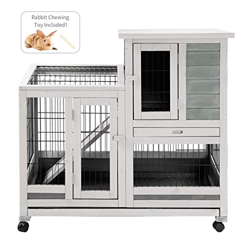 Esright Rabbit Hutch 37'' Rabbit Cage for Small Animals Indoor & Outdoor
