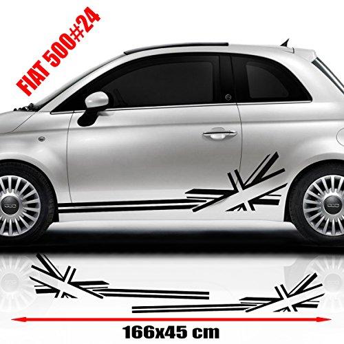 Fiat 500 Racing Side Pegatinas Gráficas Pegatinas Pegatinas para coche