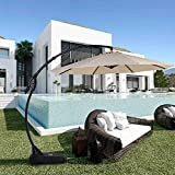 Grand patio Napoli Premium Outdoor Offset Patio Cantilever Umbrella with Base for Garden, Deck, Backyard and Pool (11FT, Champagne)