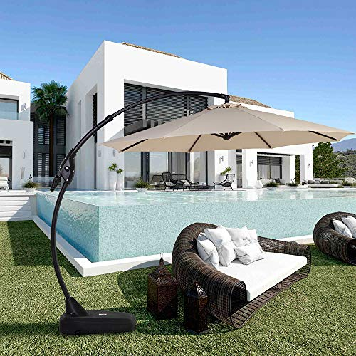 Grand patio Premium Outdoor Offset Parasols Patio Cantilever Umbrella with Base