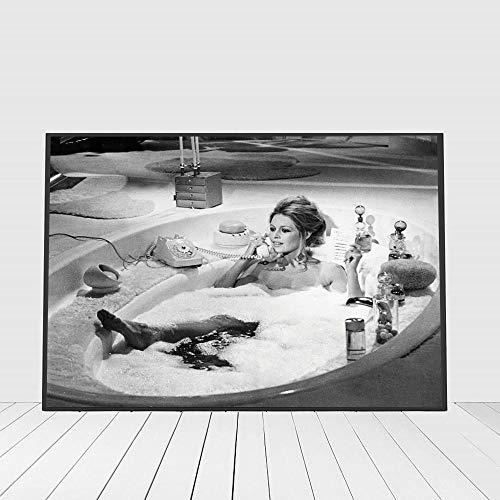 Flduod Brigitte Bardot Poster Canvaskunst Vintage Fotografie Schilderij Zwart Wit Badkamer Foto Thuis Meisjes Kamer Wall Art Decor60x90cm
