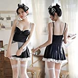 YINSHENG Lindo Delantal Femenino Maid Maid Uniform Cosplay Set College Japanese Uniform Lencería Sexy Vestido de Encaje Set Halter Sling Dress Mesh Pijamas
