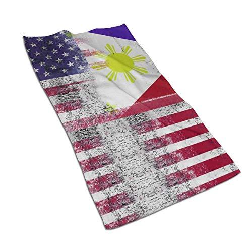 Pizeok Bandera Filipina Americana Toallas de Mano de Fibra extrafina Toalla de Playa Ultra Suave Toalla de baño para Piscina para niños, niñas