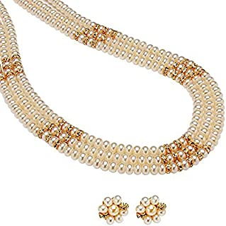 Trendy Souk Women's Triple Line Real Freshwater Hyderabadi Pearls Necklace