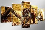 5 piezas/set caligrafía mural animal tiger mural impresión póster lienzo Quadro decoración del hogar arte modular impresión HD | Impresión HD | Mural