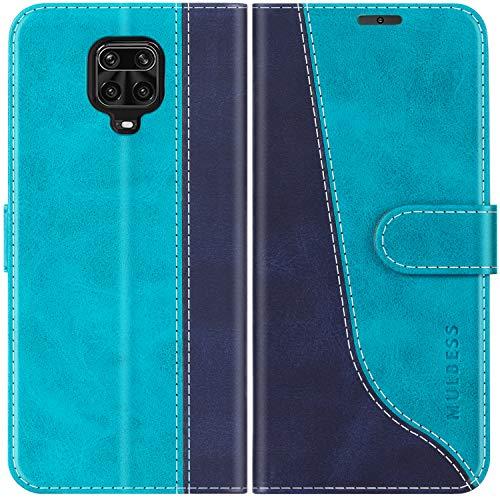 Mulbess Funda para Xiaomi Redmi Note 9 Pro, Funda para Redmi Note 9S, Funda Móvil Redmi Note 9 Pro, Funda Libro Xiaomi Redmi Note 9S con Tapa Magnética Carcasa para Redmi Note 9 Pro Case, Azul Mint