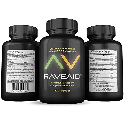 Trusted Since 2011 - Prevent Comedowns, Reduce Jaw Clenching, Neurotoxicity Protection | Party Rave Hangover Cure & Supplement (60 Capsules)