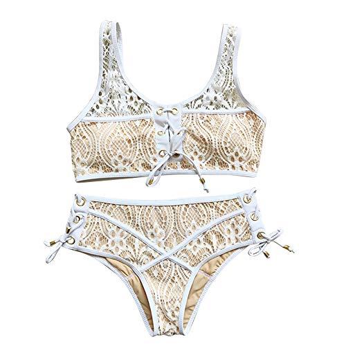 DHHY Bikini Damen Push Up Bademode Frauen Zweiteilige Schnür-Bikini aus Spitze White XL