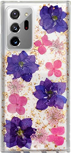 Aokebr Real Flowers Case for Samsung Galaxy Note 20 Ultra Pressed Dry Petals Glitter Bling Glitter Sparkle Thin TPU Soft for Girl Women Note20Ultra (Purple)