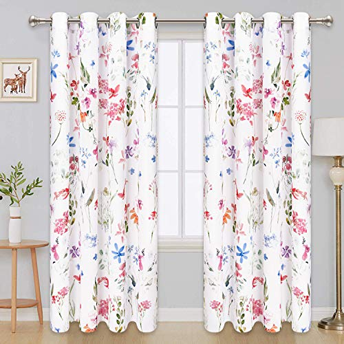 Floral Window Curtain Panels Watercolor Flower Pattern Drapes 63 x 52 Inches Window Curtain Set for Living Room Bedroom Bathroom, 2 Panels Grommet Drapes