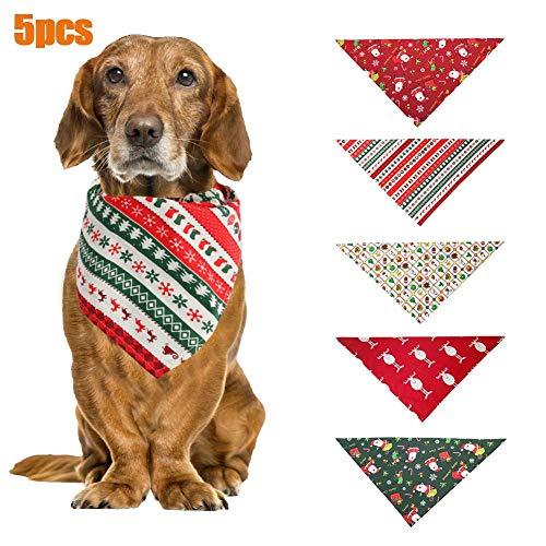 chinejaper set van 5 kerst- hondenbanken, wasbare katoenen sjaaltjes voor huisdieren, hond en kat