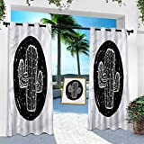 Aishare Store Pérgola Panel de cortina para exteriores, diseño de plantas de cactus, Saguaro, ancho 254 cm x largo 274 cm con ojales extra anchos para interiores y exteriores (1 panel)