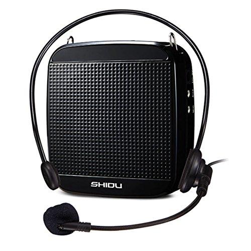 SHIDU Amplificador de voz (18W) con 1200mAh batería de litio y el micrófono con cable para profesores/Trainer/guía de viajes/Yoga Profesores y más Schwarz/Wired