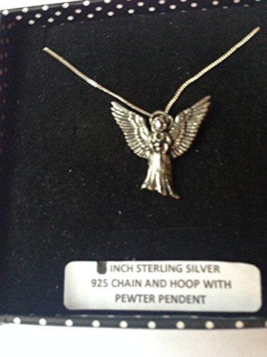 C17 Colgante de ángel volador de plata de ley 925, hecho a mano, cadena de 45,7 cm con caja de regalo de prideindetails
