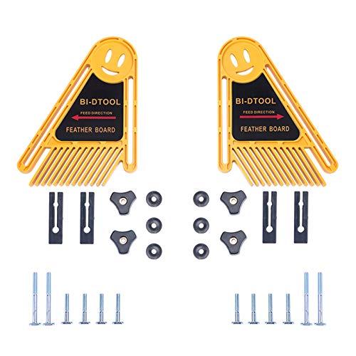 BI-DTOOL Doppel-Featherboards, 2 Packungen verstellbare Federbretter für Tischsäge, Bandsäge, Zaun, Oberfräse, Tisch und Tischsäge, Holzbearbeitung, Oberfräse, Tischzubehör, Bandsäge-Zubehör